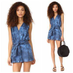 Young Fabulous & Broke Blue Linen Tie Dye Romper